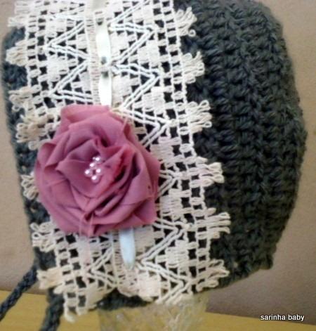 Touca Retro Newborn De Croche - R  38 352b4b1c7dd