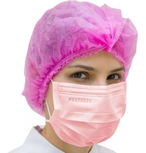 touca rosa sanfonada higiene estética beleza 25 uni anvisa