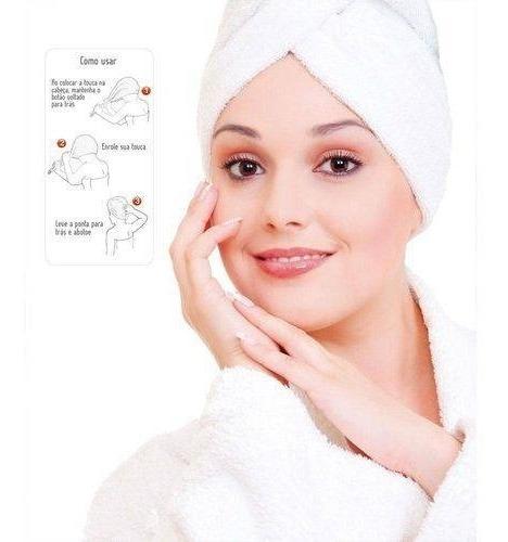 touca toalha banho algodão frio cabelo secar anti frizz