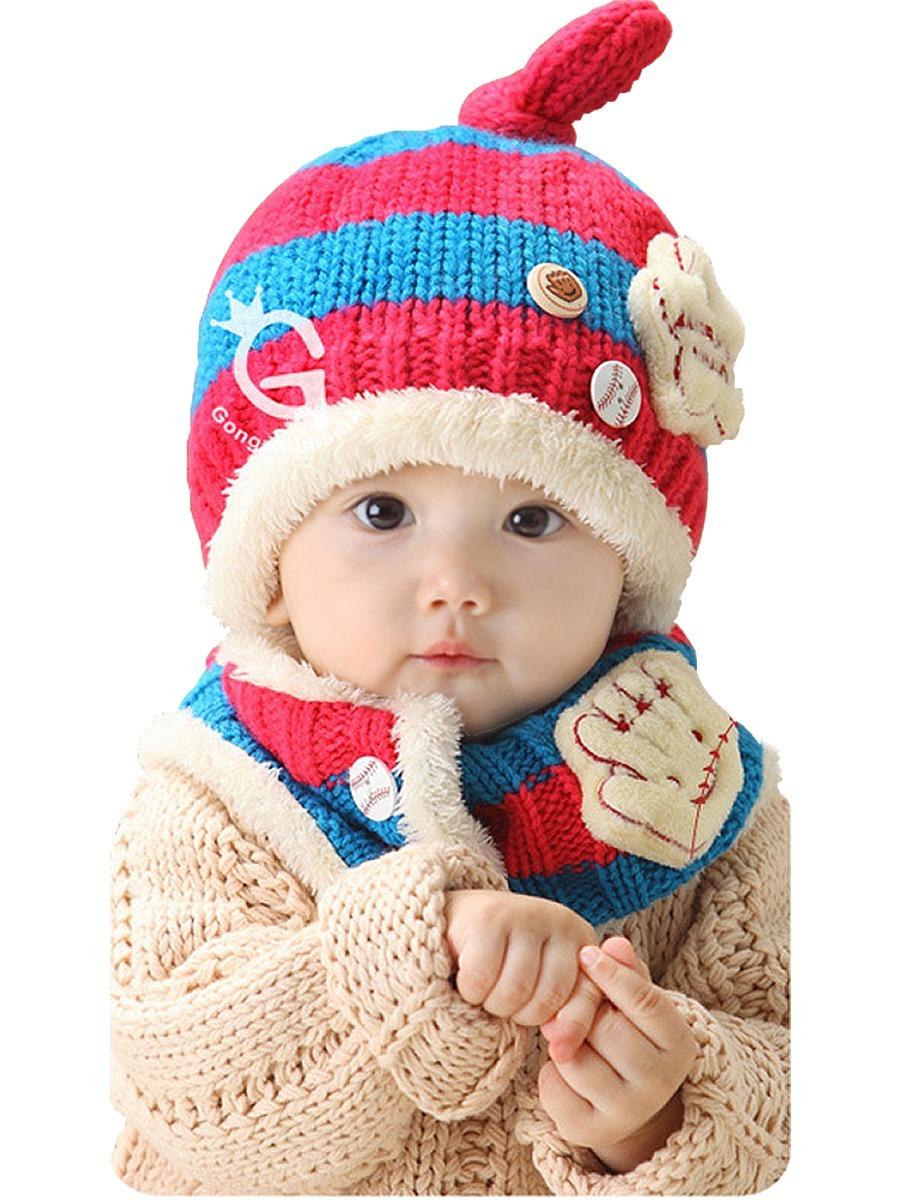 toucas chapéu cachecol de lã infantil inverno touca conjunto. Carregando  zoom. d501301ca78