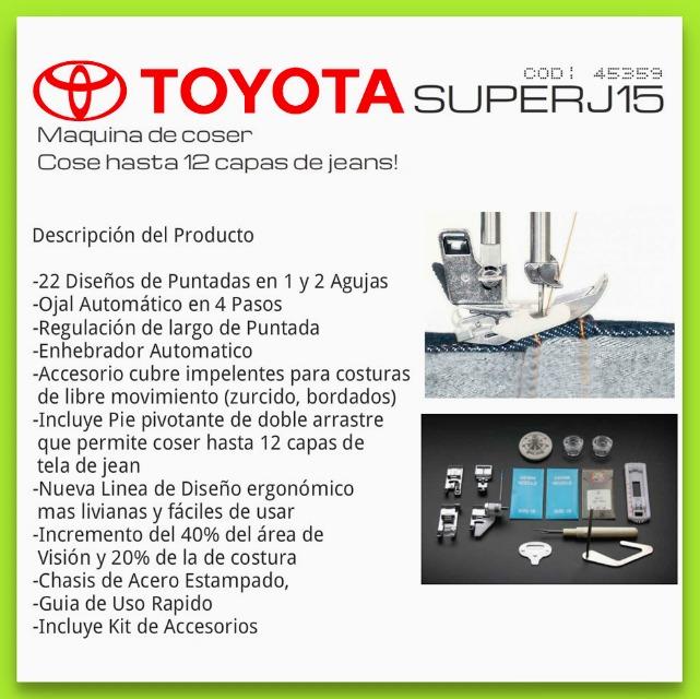 Toyota J15 Super Jean - Maquina De Coser Hasta 12 Capas Jean ...