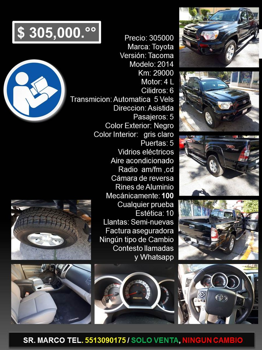 Toyota Tacoma 4.0 Trd Sport At - $ 305,000 en Mercado Libre