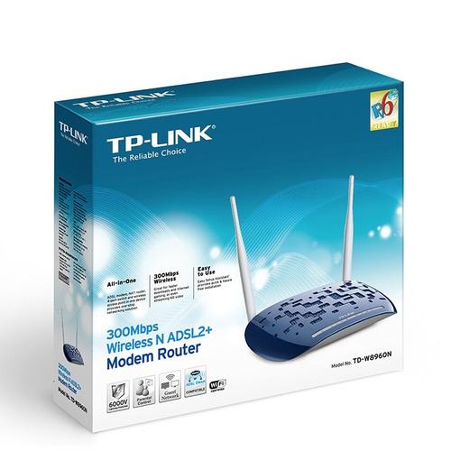 tp-link, router módem adsl2+ inalámbrico n300, td-w8960n