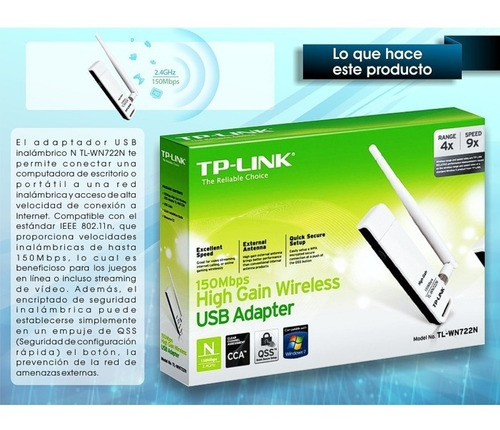 tp-link, tarjeta de red de alta ganancia 150mbps, tl-wn722n