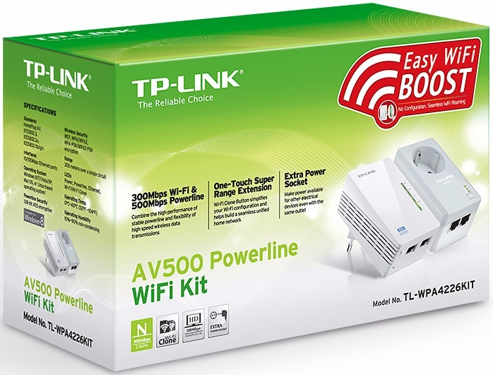 Tp-link Tl-wpa4226 Powerline Starter Kit Wifi Extender Av500