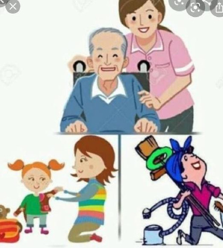 trabajo de limpieza por hora, acompañante adultos y niños.