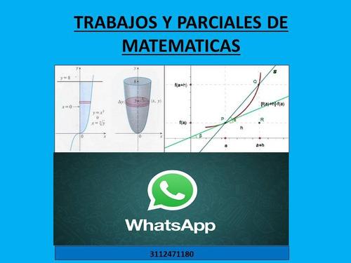 trabajos y parciales de matemáticas y estadística