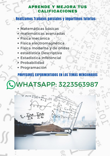 trabajos y tutorías de matemáticas, física y estadística