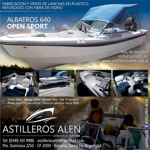 tracker albatros 640 open sport matrizado, financiamos.