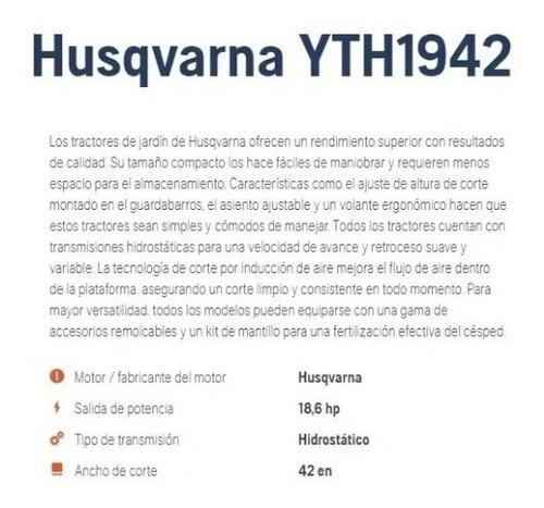 tractor cortacésped husqvarna yth1942