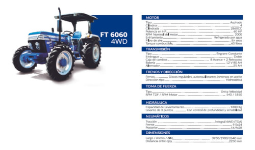 tractor ft 6060 2wd