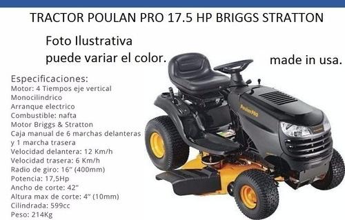 tractor poulan pro 17.5hp - 0km motomania