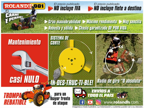tractorcito cortacesped y malezas roland h001 pro 6x4 13hp