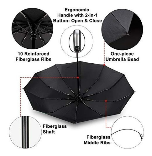 tradmall paraguas de viaje a prueba de viento con 10...