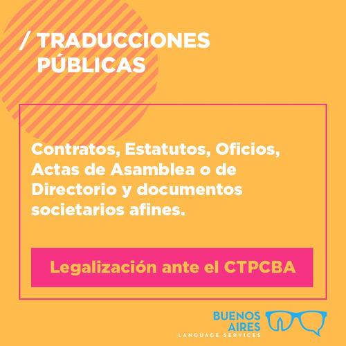 traducción pública inglés certificada ata matrícula ctpcba