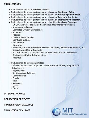traducciones inglés español públicas y privadas, traductora