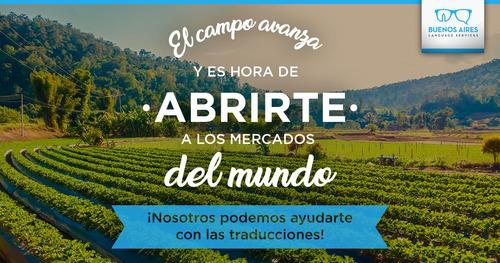 traducciones para exportación de productos del agro