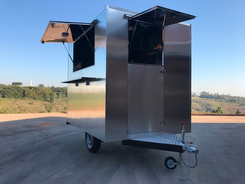 trailer 2,5mx1,8m - inox e alumínio foodtruck chassi 01