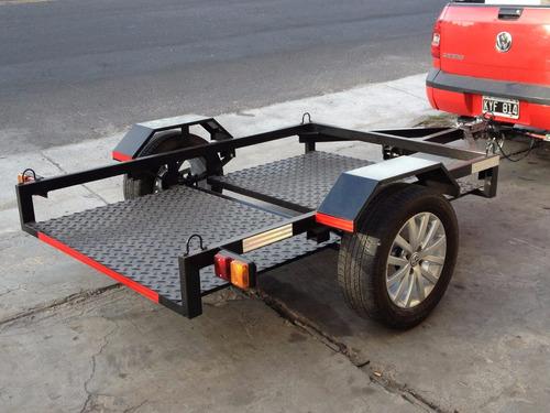 trailer  cuatriciclos o motos basculante piso super bajo