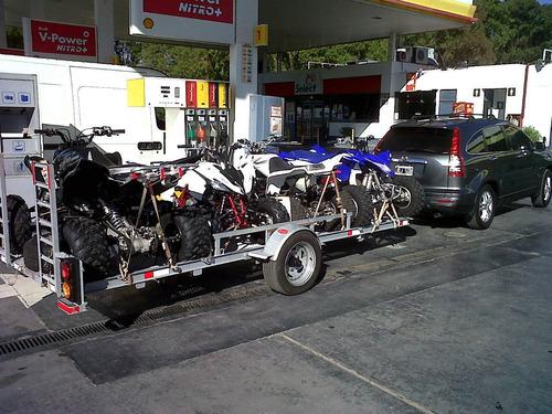 trailer galvanizado para 2, 3 y hasta 4 cuatriciclos