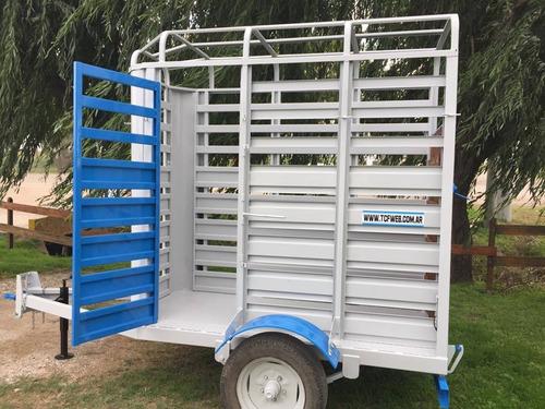 trailer jaula para 1 y 2 caballos equinos batan