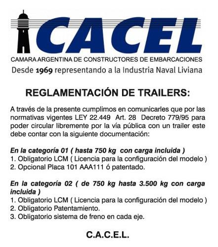 trailer mactrail, semirigido 14 con rodillos homologado