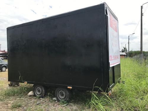 trailer negro para comidas o negocio