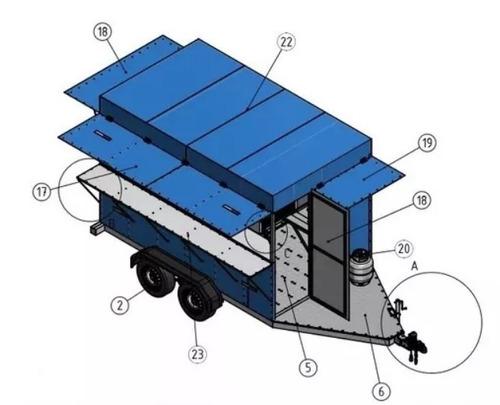 trailer para lanches projeto carretinha reboque (food truck)