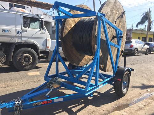 trailer porta bobina de cable y fibra optica