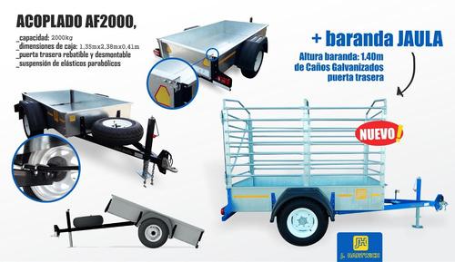 trailer volcador  2000kg galvanizado jaula j.hartwich