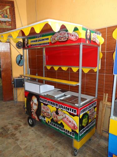 trailer y carros para perros calientes y hamburguesas.