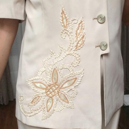 traje 2 pzas / manga corta / alta costura / civil / bordado