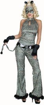 traje adulto del juego del gato de leopardo (tamaño 6-8)