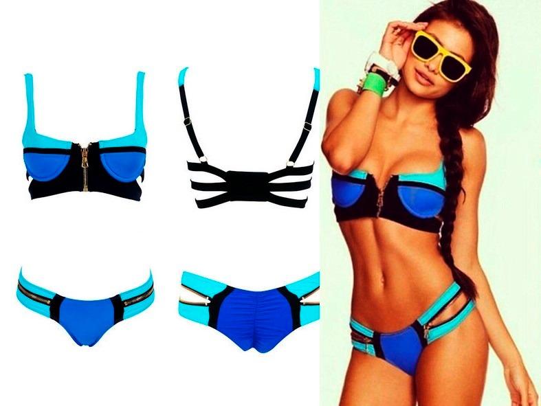 7576fc1abc95 Bikini Azul Turquesa Cierre Traje De Baño Dama Talla Grande