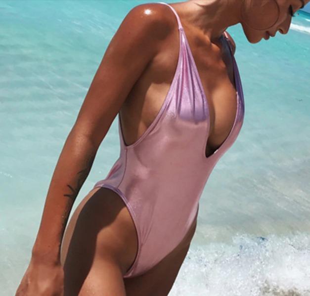 41ca3881e1e7 Traje De Baño Completo Dama Bikini Monokini Rosa Metal Envio