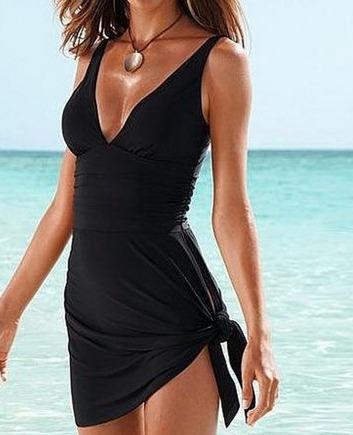 Traje de ba o completo para mujer color negro estilo for Como disenar un bano completo