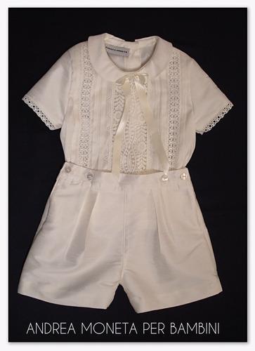 traje bautismo bebe manteca crema 1 año andrea moneta 830
