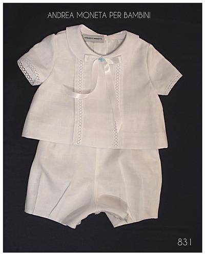 traje bautismo bebe varon blanco lino andrea moneta 831