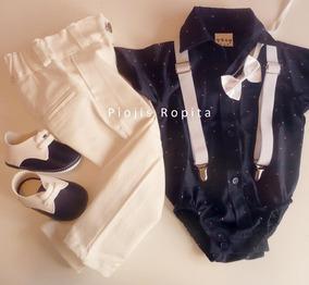4a6f81c9d Traje Bebe Bautismo Pantalon Camisa Tiradores Moño Zapatitos