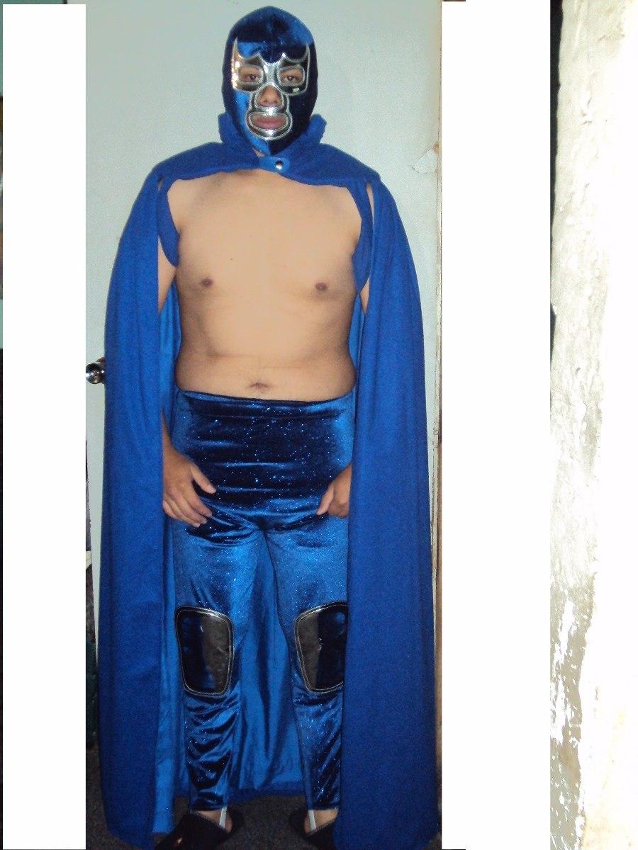 Traje Capa Y Mascara De Luchador Blue Demon Profesional