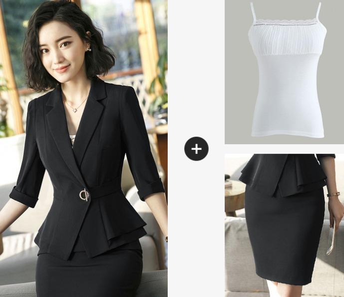 c76c394ecd Traje Completo Dama Blazer + Blusa + Falda Elegante Moderno - U S ...