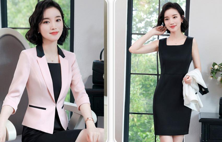378aa1e8b8 traje completo dama blazer + vestido moda formal sofisticado. Cargando zoom.