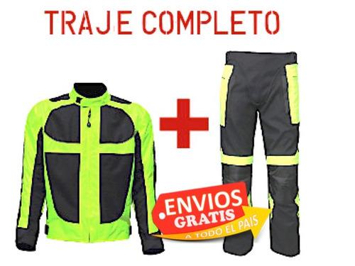 traje completo moto chamarra fluorescente protecciones