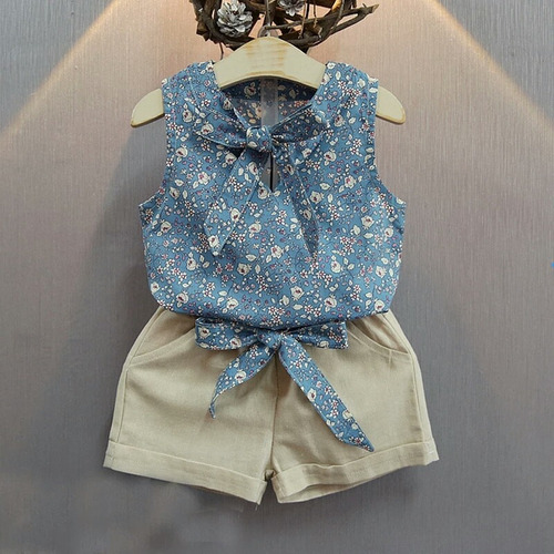 traje conjunto casual niña formal short blusa