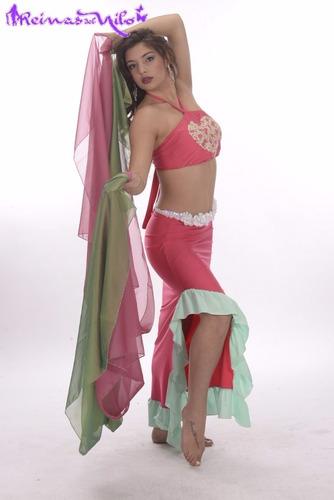 traje corazon flores volados para danza arabe belly dance