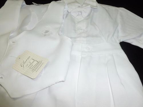 traje corto 4 piezas blanco/beige ideal bautismos y fiestas!