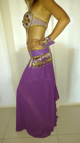 traje danza arabe violeta y dorado bordado