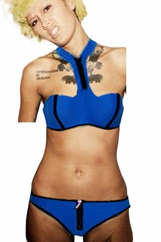 traje de baño bikini azul sexy halter push up playa 41321