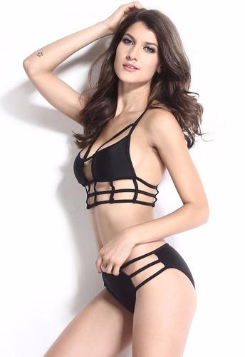 traje de baño bikini negro mujer sexy halter push up playa