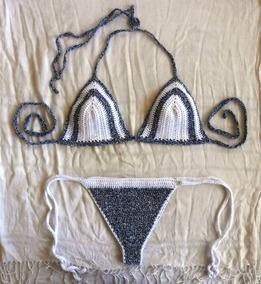 Traje Crochet De Matizado Azul Bikini Tejido Blanco Con Baño qSzMVpU